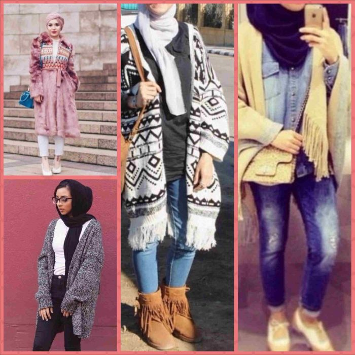 صورة موضة شتاء 2019 للمحجبات , ارقى ملابس الشتاء البارد 2019 للمحجبات