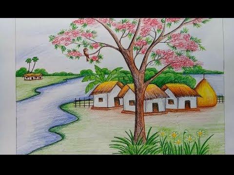 رسم منظر طبيعي باليد , احلى الرسومات باليد مساء الورد