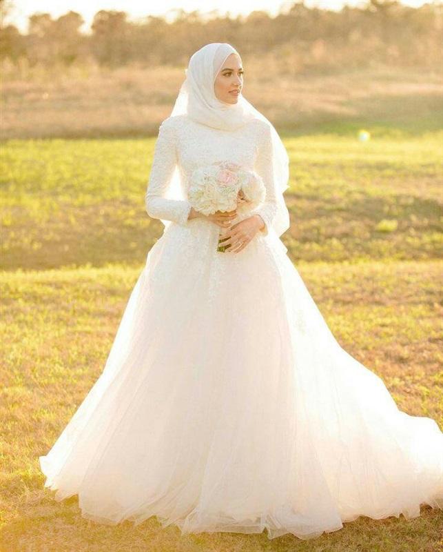 بالصور فساتين اعراس للمحجبات , اجمل فستان للعروسة المحجبة 835 8