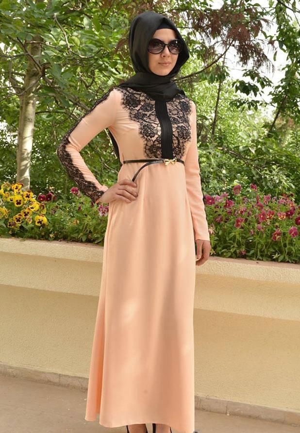 بالصور فساتين طويلة للمحجبات , فستان طويل مناسب للحجاب 5334 9