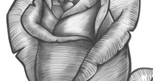 صورة رسومات بالرصاص ورد , الورد تعبيره الحب