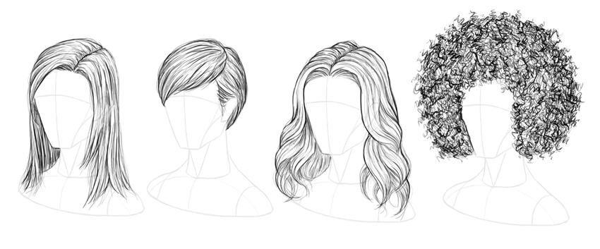 صور كيف ترسم شعر , تعلم كيفيه رسم الشعر خطوة بخطوة