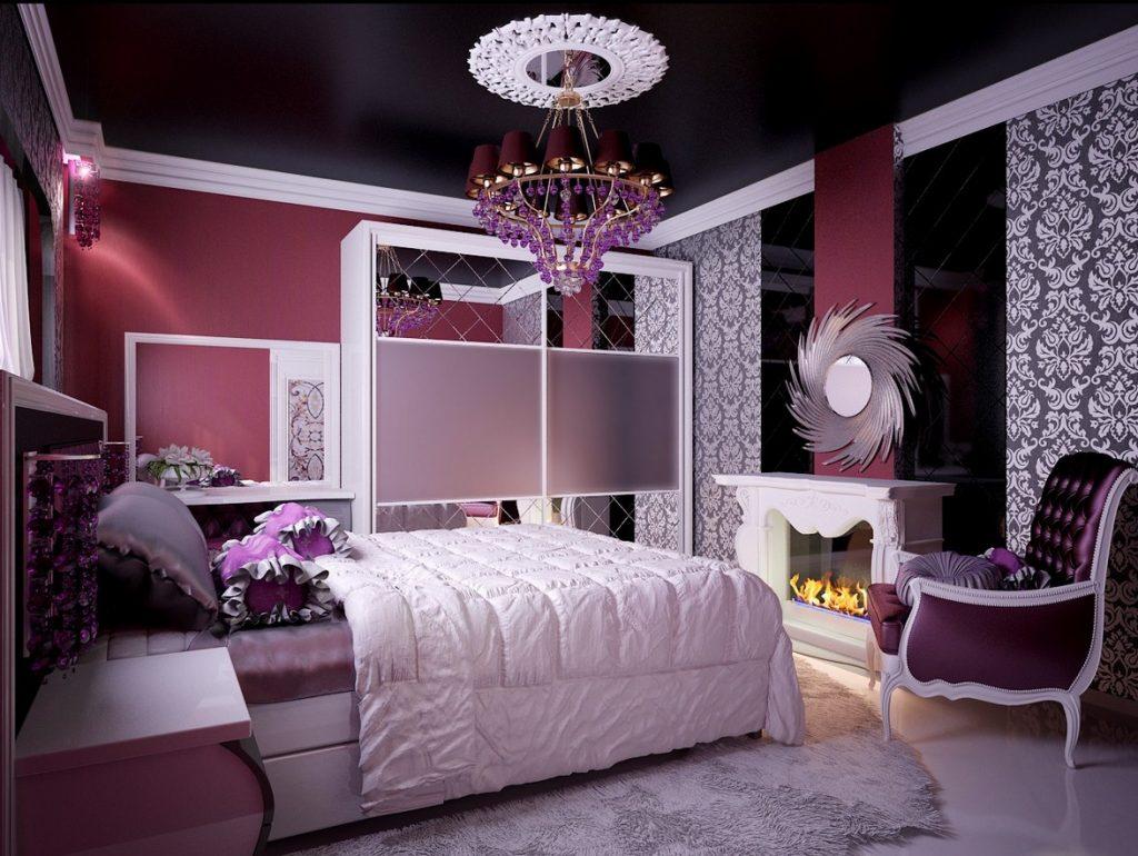 صورة غرف نوم باللون البنفسجي , اشكال موديلات غرف نوم باللون البنفسجي 12177 8