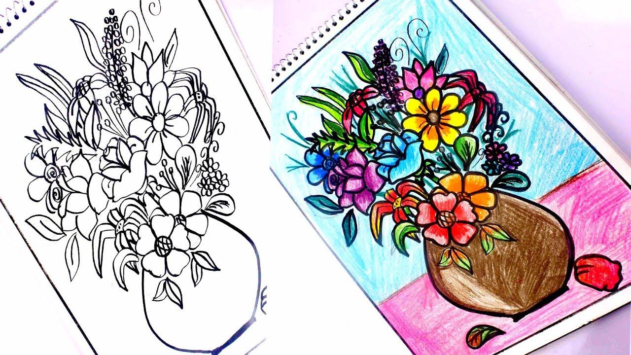 صور رسم بوكيه ورد , كيف ارسم بوكيه ورد جميل