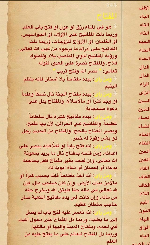 صورة تفسير الاحلام لابن سيرين حرف الالف , حرف الالف وماذا يقول عنه ابن سيرين