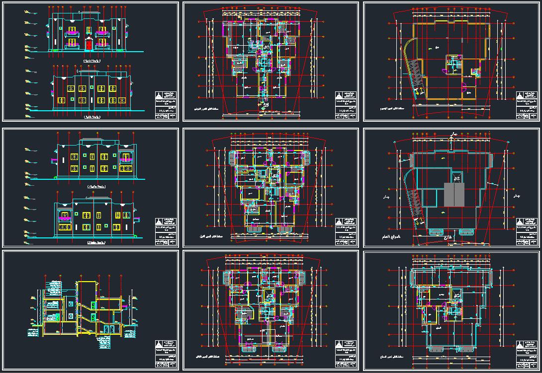 صور واجهات عمارات سكنية اوتوكاد , تصاميم بالاتوكاد للعمائر السكنية من الخارج