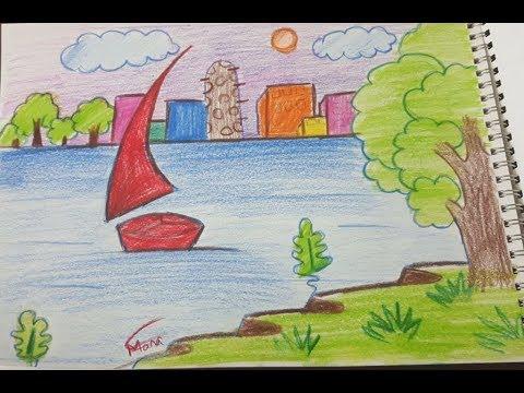 صورة شجعي طفلك علي التلوين , رسم منظر طبيعي للاطفال